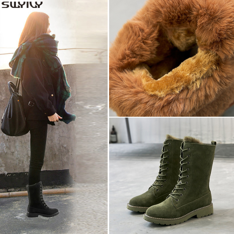 Women Mid Calf Boot Wedge Hidden Heel Winter Female Snow Round Toe Faxu Leather Winter Casual Long Boots