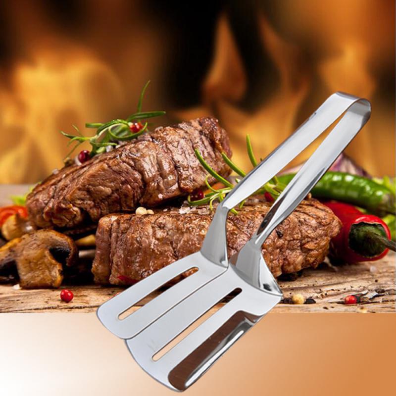 Food Clip Stainless Steel BBQ Tongs Kitchen Utensils Fried Steak Clamp  Shovel