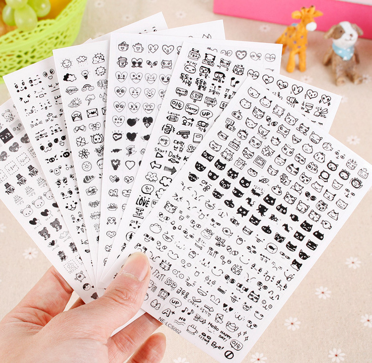 Super Cute Black and White Mini Small Sticker Korean Stationery Album Journal Sticker Decorative Mobile Phone Cartoon Stickers