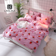 Home Textiles Bedspread Duvet-Cover-Set Bedding-Set Bed-Sheet Pink Strawberry Nordic