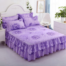 Ruffled Bedspread Bed-Skirt Queen-Sheets Home-Decor Floral Romantic Polyester Nordic
