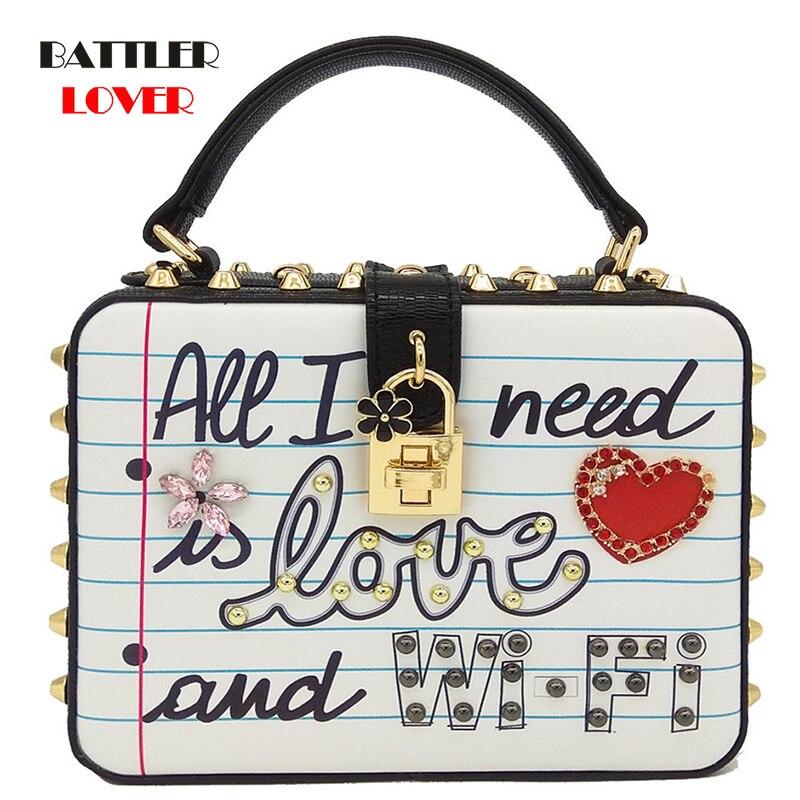 "Bags for Women 2019 ""All I Need is LOVE and WIFI"" Fashion Women Shoulder Bag Crossbody Handbags Ladies Top-Handle Box Clutch Bag"