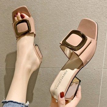 Summer Women Shoes Slippers Fashion Metal Buckle Ladies Mules Slides High Heels Pumps Women Casual Slippers