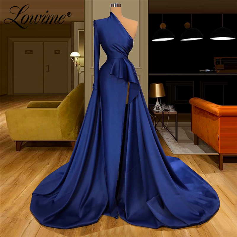 Saudi Arabia Elegant Navy Blue Evening Dress Dubai Party Gowns Satin Celebrity Dresses Formal One Shoulder Robe De Soiree 2020