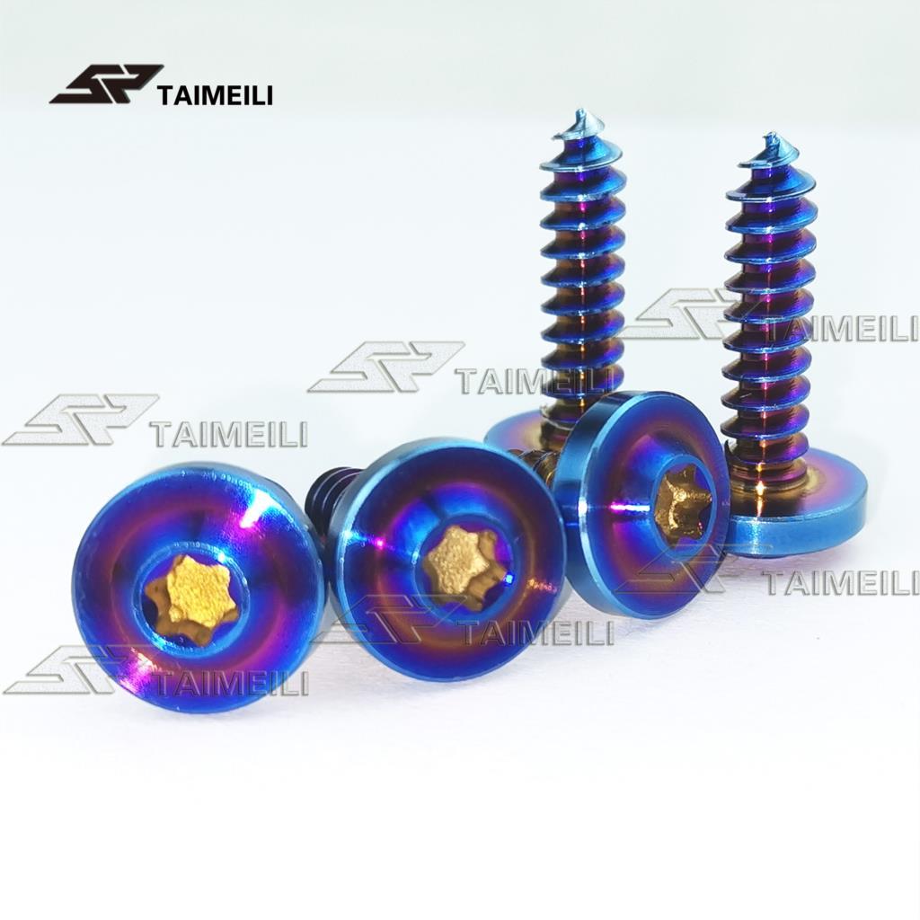 M4 M5 M6 x15mm 5pcs Titanium Tapping Screws Bolts for Motorcycle Shell Retrofit