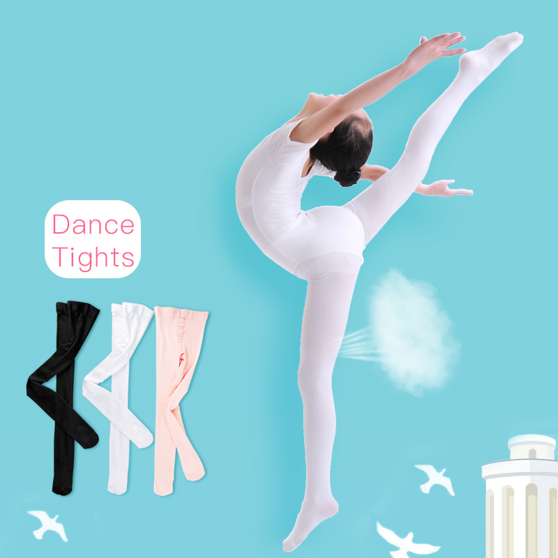 Girls Women Footed Ballet Tights Microfiber White Black Ballet Dance Stockings Pantyhose With Gusset