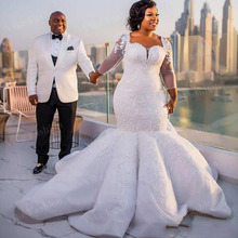 Maxi-Gowns Wedding-Dress Mermaid Long-Sleeves Plus-Size Lace Appliques Bride Within-Train
