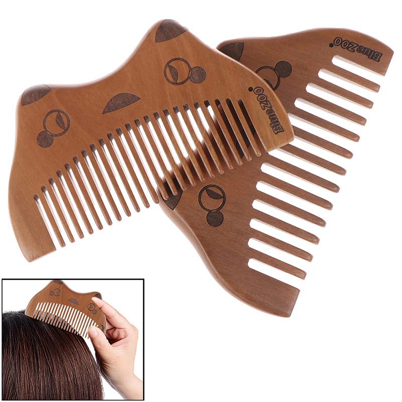 1Pc Natural Wooden Combs Pocket Cute Cat Design No Static Beard Comb Hairdressing Portable Styling Tool Hair Brush Massage