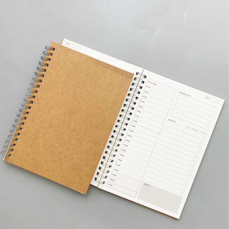 New Notebooks Agendas Planner Diary Weekly Spiral Organizer Libretas Note Book Monthly Kraft Paper Schedule Filofa Office Supply