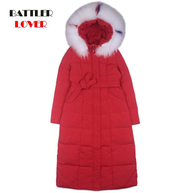 100% Duck Down Coat Jacket Women Winter 2019 Outerwear Coats Female X-Long Real Fur Hooded Light Ultra Down Jacket Women