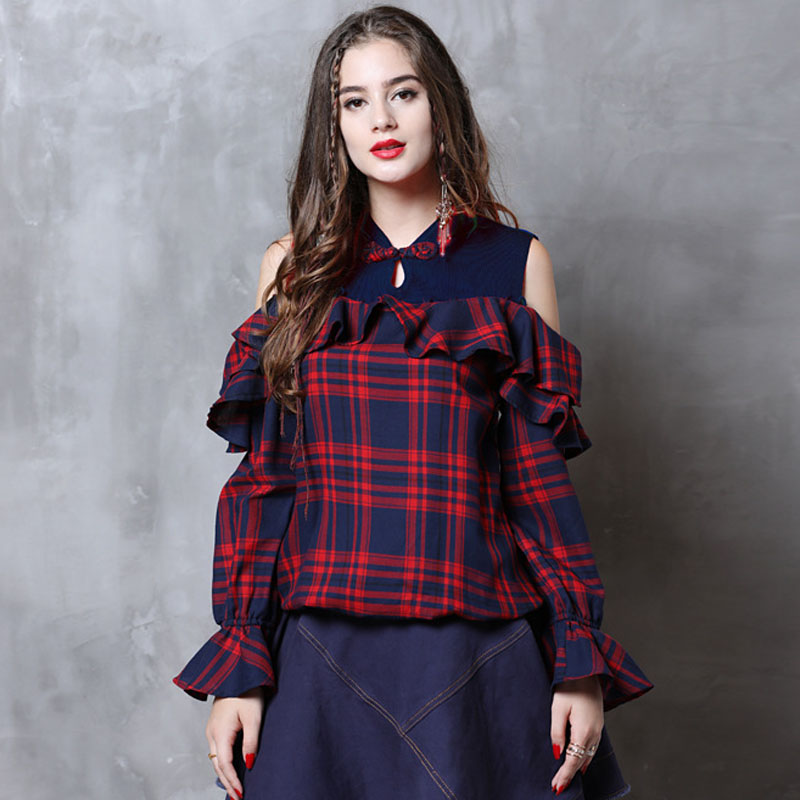 Johnature Autumn Fashion All-match Plate Buckle Ruffles Retro Plaid Shirt 2019 New Simple Leisure Stand Long Sleeve Women Shirt