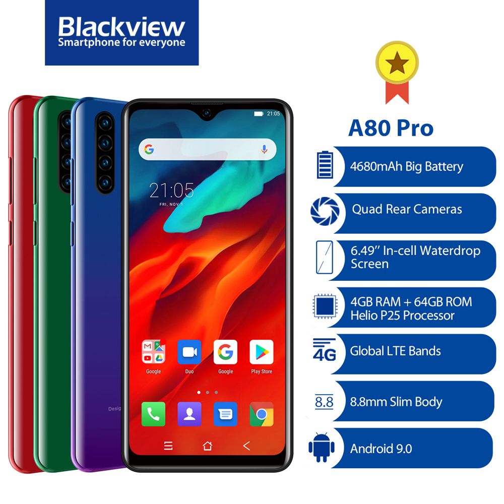 Global Version Blackview A80 Pro Quad Camera Octa Core 4GB+64GB Android 10.0 Mobile Phone 6.49'' Waterdrop 4680mAh 4G Smartphone