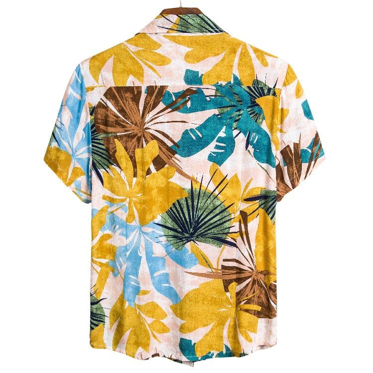 Ananas Bolsillo Frontal Manga Corta Hombres Hawaiano-Imprimir XS-6XL Camisa Hawaiana enrrollada