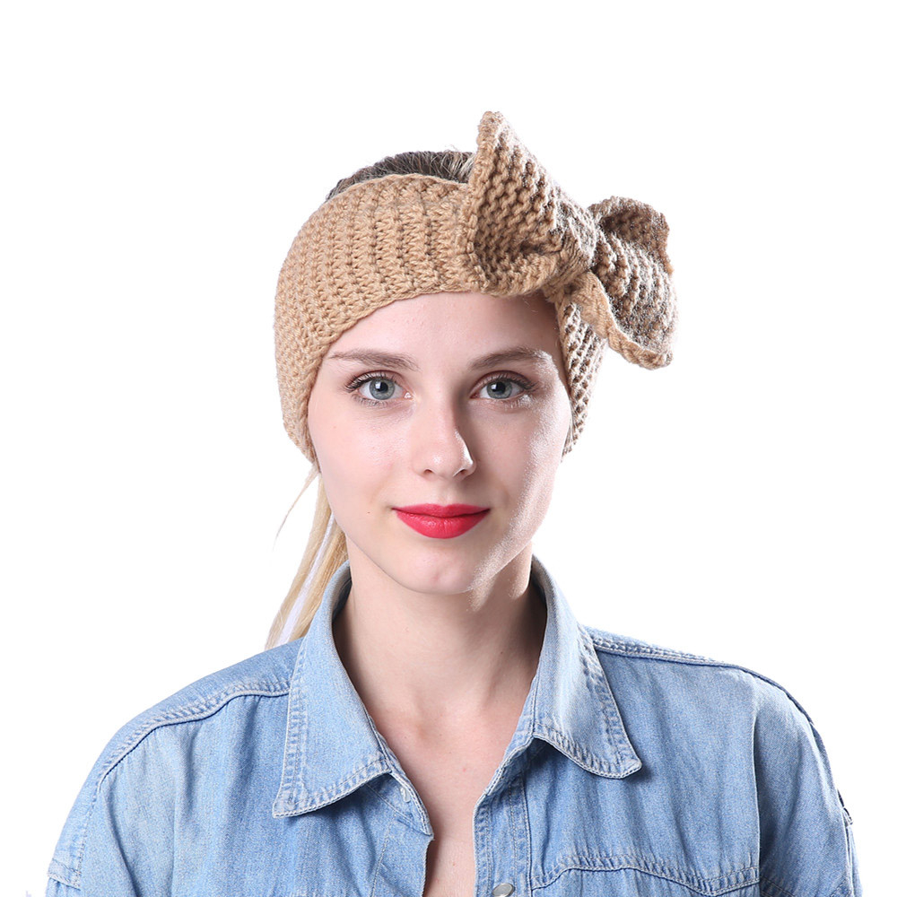 Women Fashion Hair Band Elastic Rabbit Bow Style Winter Warmer Ear Knitted Headband Turban HairBand Hair Accessories 1111