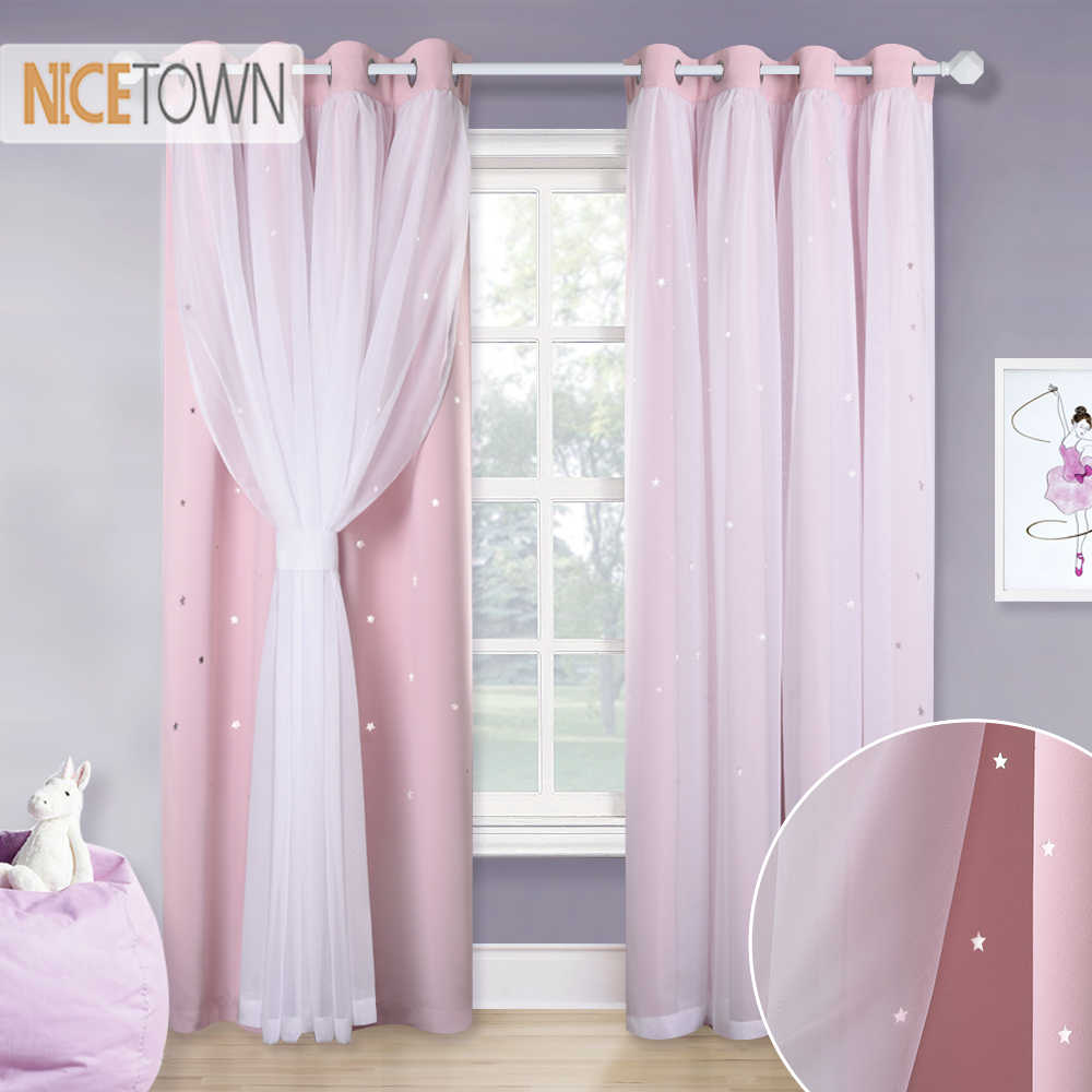 NICETOWN Beautiful Starry Princess Double Shading Dreamy Pink Blackout Curtain Drape for Girl Baby Living Room Wedding Room