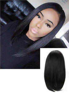 Hairpiece Wig Cosplay Women Wavy Black Straight for Silky Middle-Parted Bobo