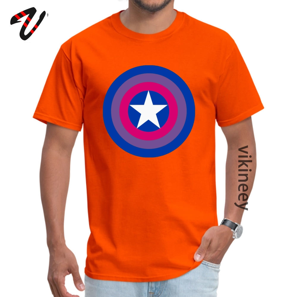 Customized Captain Bisexual Tops Shirts for Men Cheap April FOOL DAY Round Neck Cotton Short Sleeve T Shirt Hip hop Tee Shirt Captain Bisexual 6982 orange