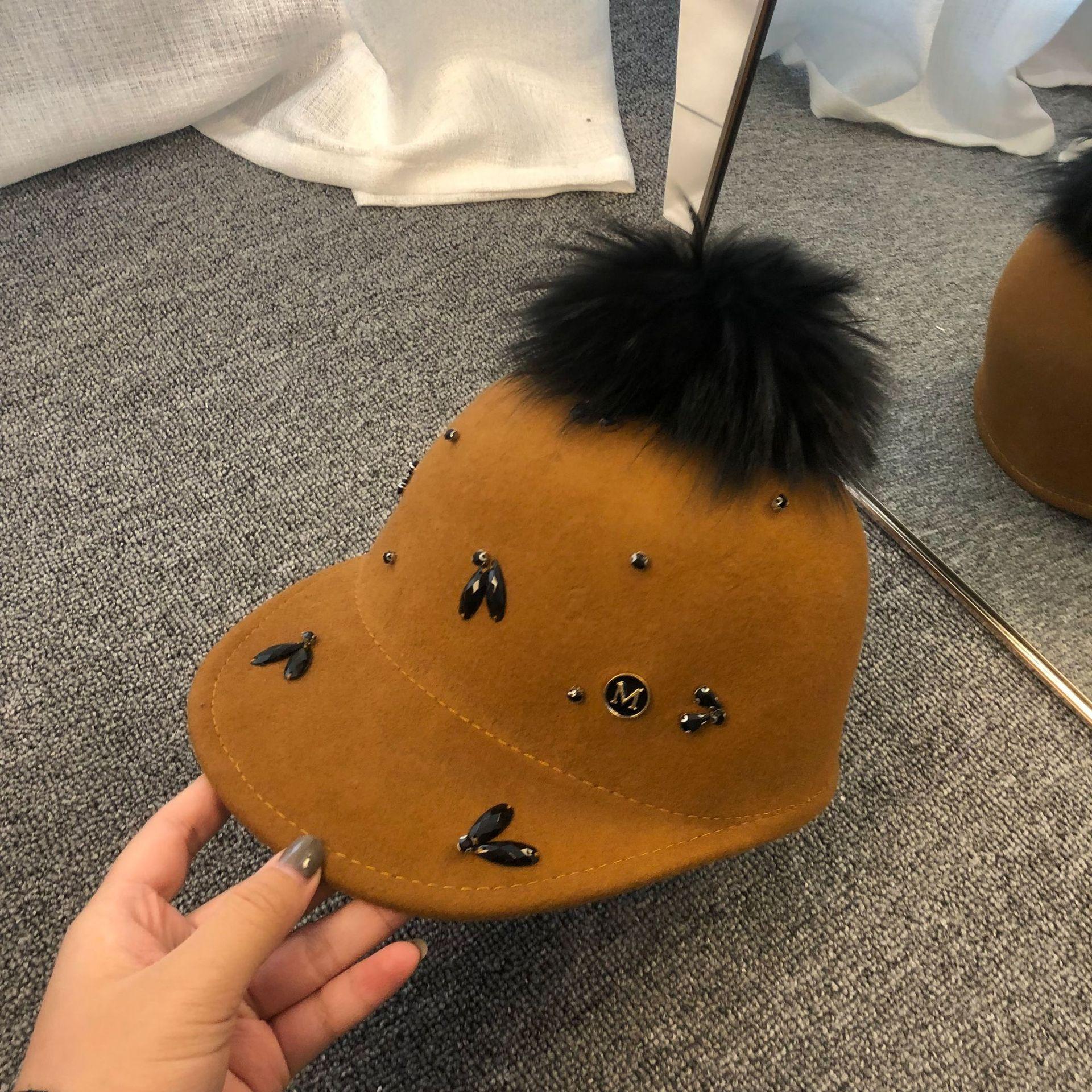 01910-fu154912 autumn winter wool Rhinestone pompon lady  octagonal hat  women leisure visors cap