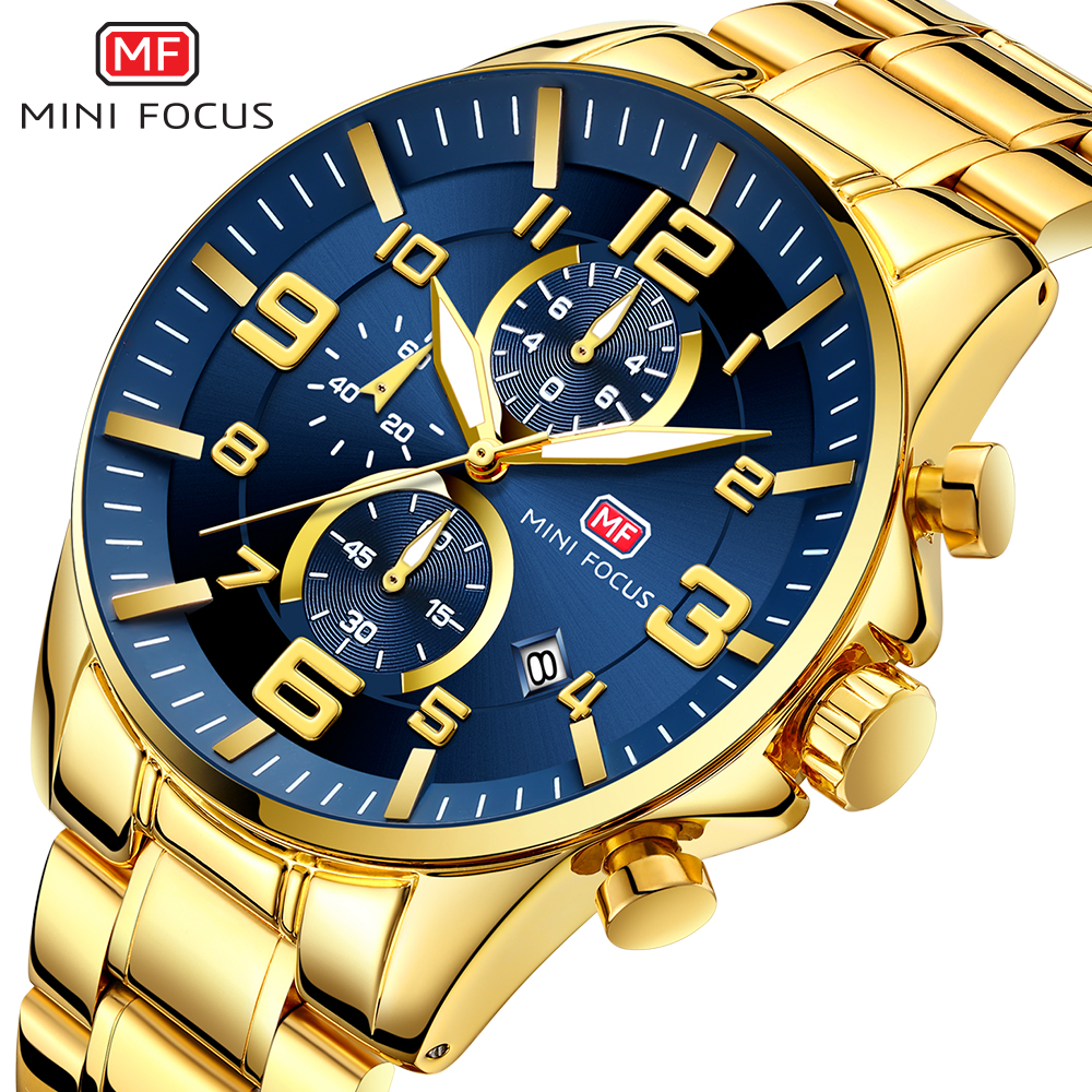 MINI FOCUS Watches Mens 2020 Top Brand Luxury Gold Watch Calendar Waterproof Chronograph Multi Function Business Horloges Mannen