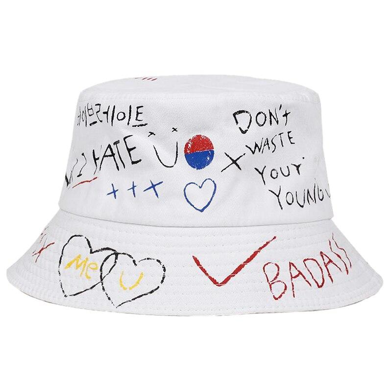 GHBOTTOM Unisex Harajuku Bucket Hat Koreanische Buchstaben Graffiti Print Hip Hop Fisherman Hut