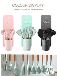 Kitchen-Tools-Set Cookware-Set Accessories Storge-Box Wooden Spatula Cooking Pink Silicone