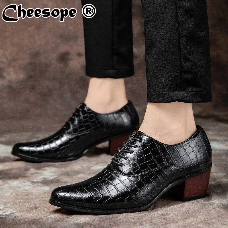 Men/'s Pointed Toe Wedding Lace Up 8cm Cuban Heel Patent Leather Formal Shoes