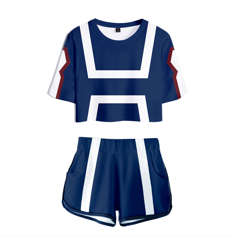 AMOMA Women Girls Anime My Hero Academia Cosplay 3D Printed Tracksuit Crop Top and Shorts Two Pieces Sets