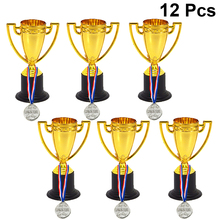 Trophy Medals Gold-Cups Prizes Award Sport Plastic Small And Mini Gift for Students 12pcs