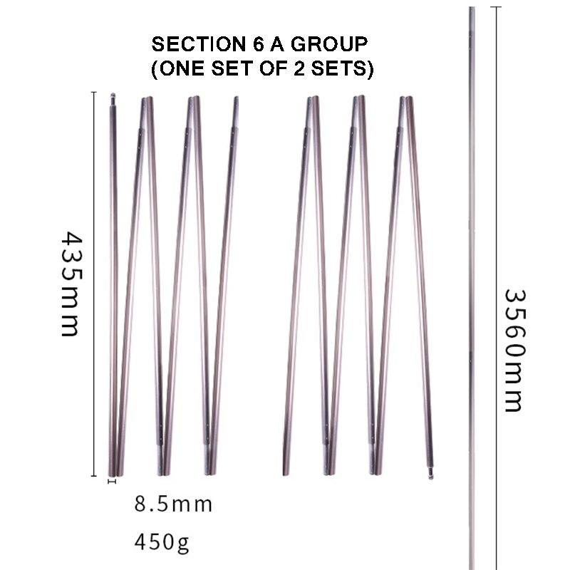 environ 6.71 m 11 Section Fibre De Verre 22 ft Long 13 mm Large Vert Tente Poles Avignon avec élastique