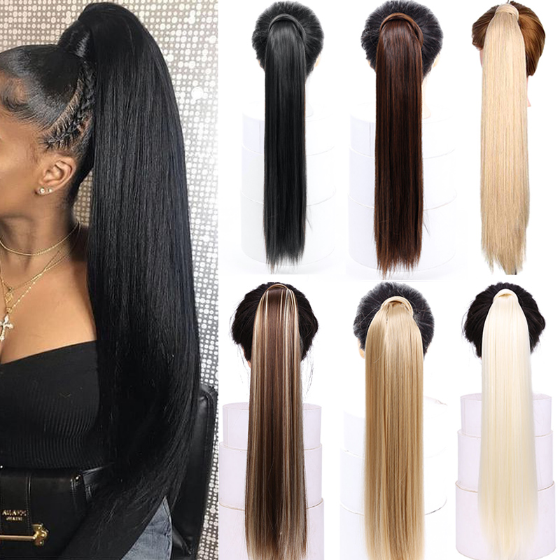 AOSIWIG Ponytail Hairpiece False-Hair Clip-In Straight 120g with 24- title=