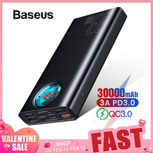 Baseus Power-Bank Battery-Charger Exterbal Huawei iPhone Portable Usb-C PD 30000mah