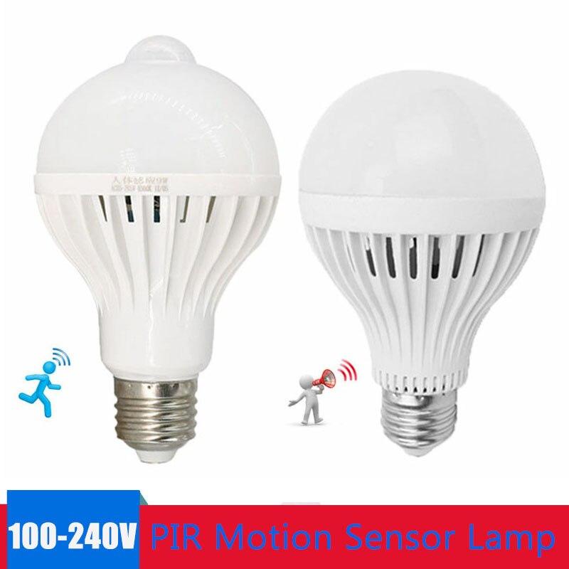 E27 Smart LED Light Bulb 220V 110V PIR Motion Sensor Lamp 5W 7W 9W PIR Infrared Body Sound Light For Stair Pathway Corridor