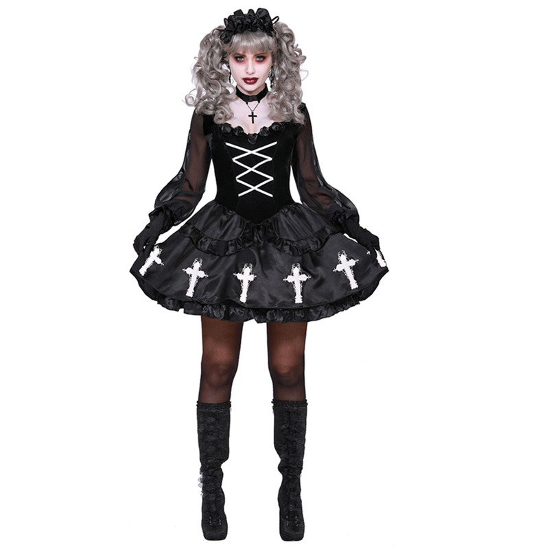 New Black Scary Voodoo Doll Ghost Bride Costume Adult Women Halloween Cosplay Fancy Dress Outfit