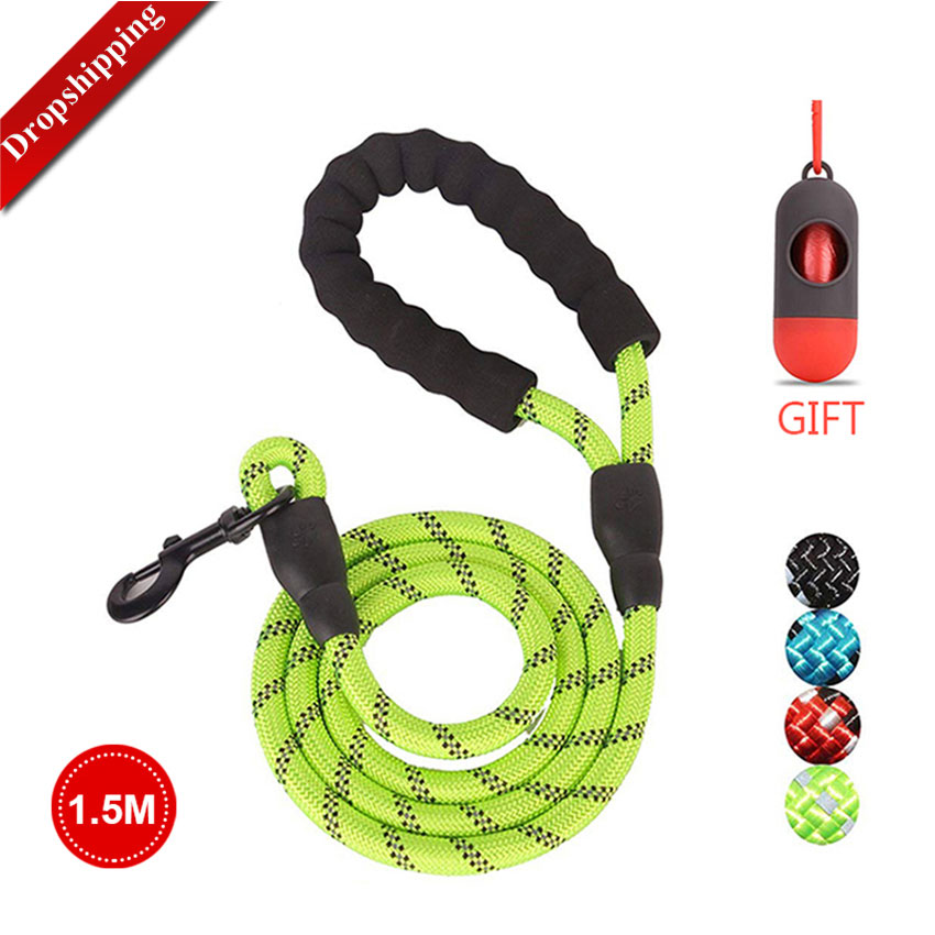 Pet Leash Reflective Strong Dog Leash 1.5M Long with Comfortable Padded Handle Heavy Duty Training Durable Nylon Rope Leashes