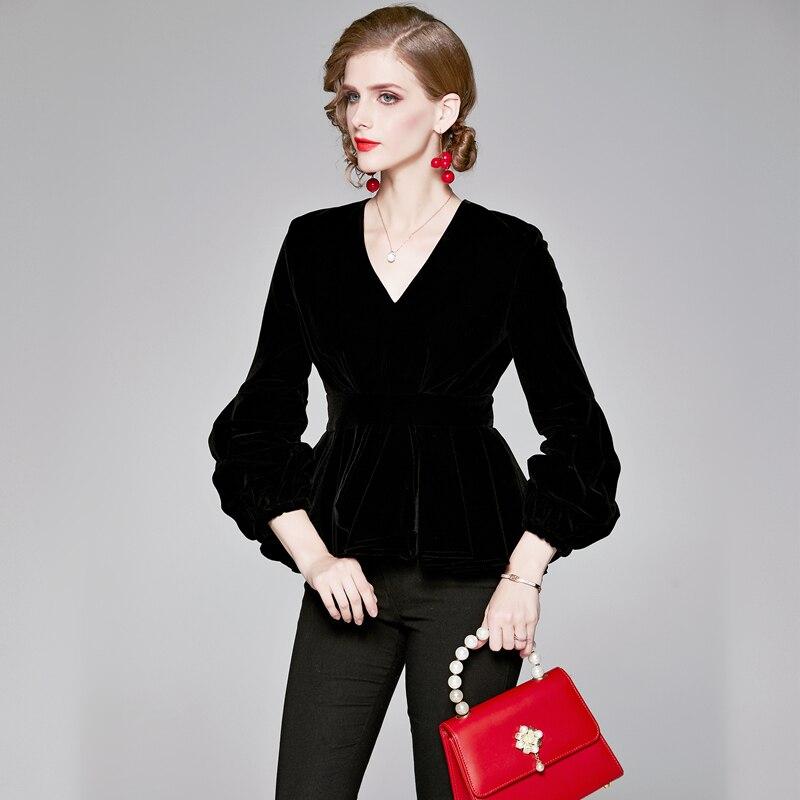 Women Autumn Winter Black Velvet Shirts Vintage V-Neck Lantern Sleeve Thick Slim Ruffles Hem Ladies Office Shirts Top Bluasa