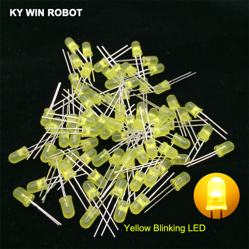 50pcs 5mm White Green Red Blue Yellow Light-Emitting-Diode Automatic Flashing LED Flash Control Blinking 5 mm LED Diode 1.5HZ