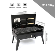 Portable BBQ Grill Folding Charcoal Grill Outdoor Stainless Steel BBQ Grill Camping Cooking Picnic Barbecue Tools