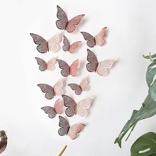 12PCS/Set 3D Wall Stickers Hollow Butterfly For Kids Rooms Home Wall Decor Fridge Stickers