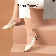 Women Sandals Strap Shallow-Shoes Mid-Heel Stone-Pattern Square Toe Summer Ladies Slingback
