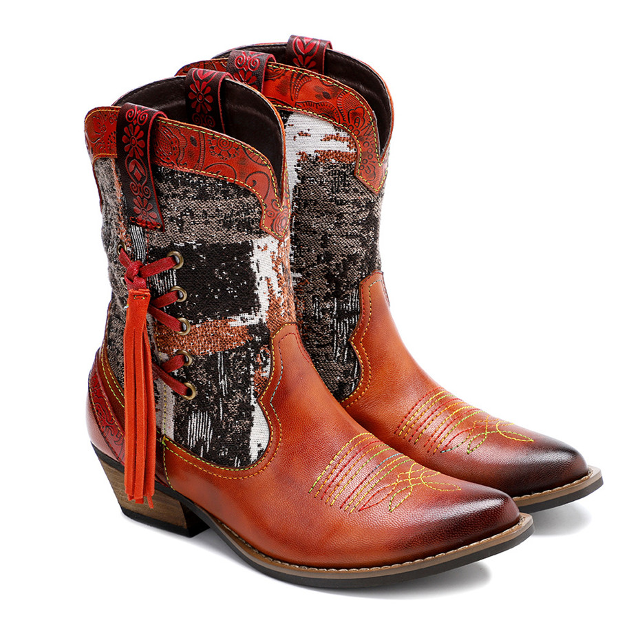 New Genuine Leather Fine Printed Ladies Shoes Ankle Boots Vintage Handmade Chunky Heel Embroidery Western Boots Shoes For Woman  (9)