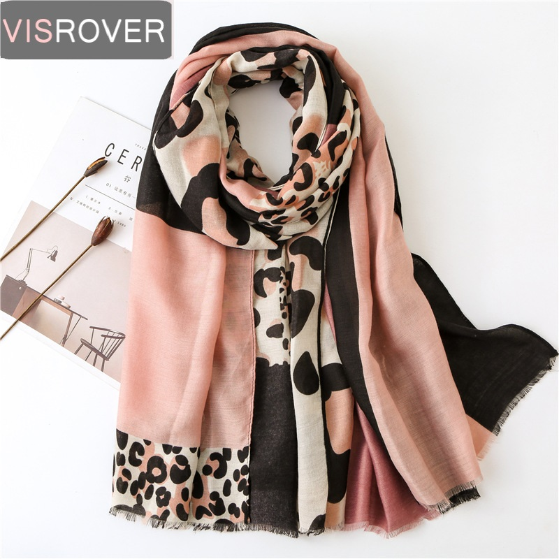 Visrover Tropical Natural Animal Leopard Beach Scarves Big Shawl Printing Scarf Hijab Women Scarfs Fashion For Summer Wholesales