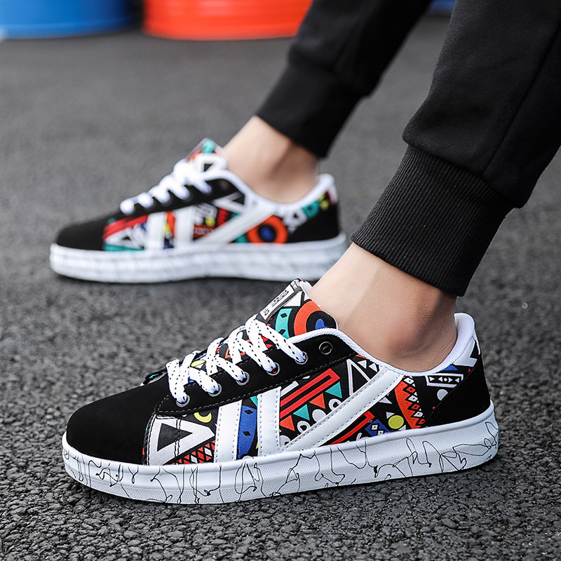 New Canvas Sneakers Men Footwear Low Casual Elastic All Shoes Low Vulcanized Classic Cloth Students Leisure Print Shoes