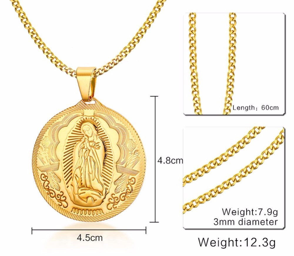 Mens Womens Necklces Virgin Mary Maria Miraculous Medal Pendant Necklace in Gold-color Stainless Steel Fashion Jewelry collares collier colar Accessories 14