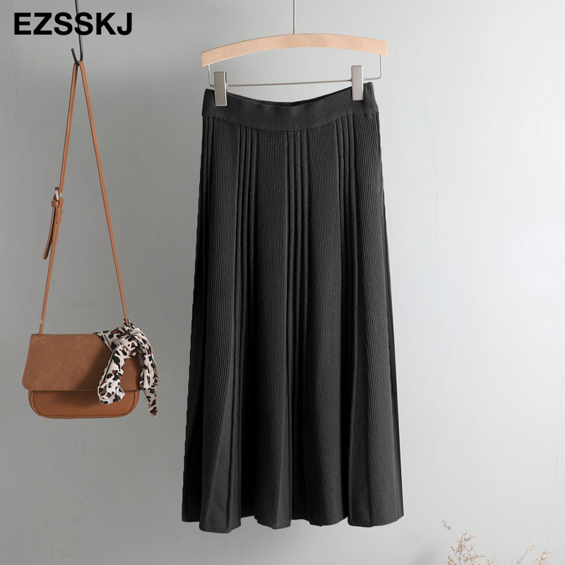 Vintage Winter Women thick sweater skirt Elastic High Waist Pleated Midi knitted Skirt A-line female solid elegant Skirts 32