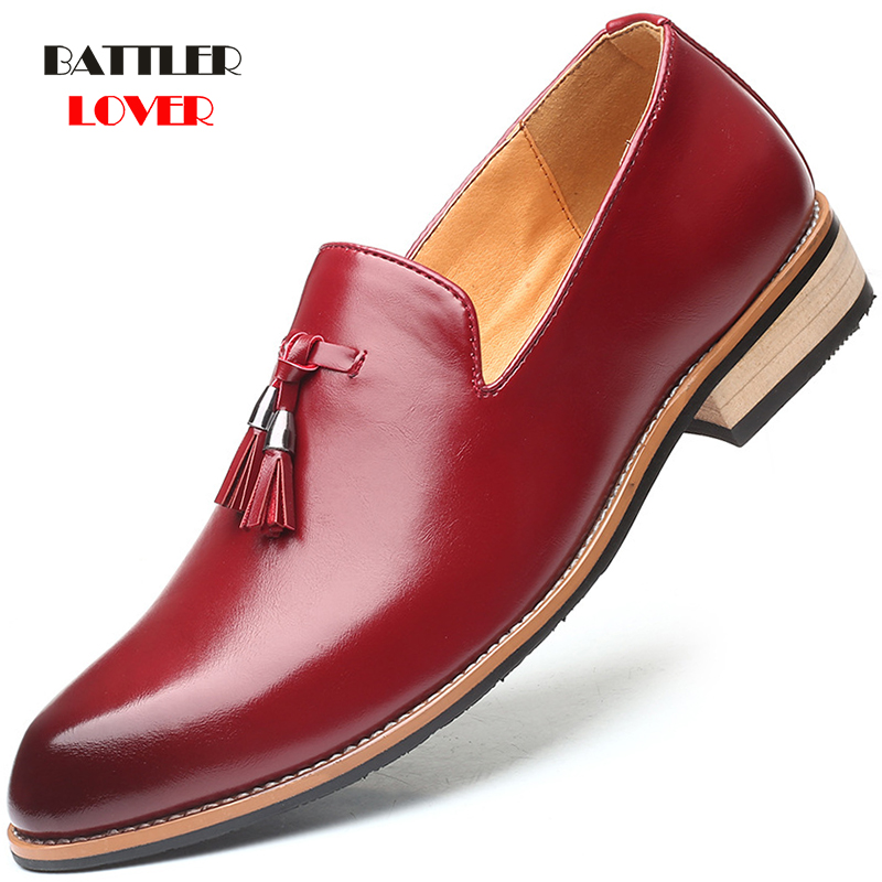 Plus Size 38-50 Handmade Genuine Leather Business Brogue Shoes Men Dress Casual Tassel Soft Rubber Shoe Breathable Wedding Shoes