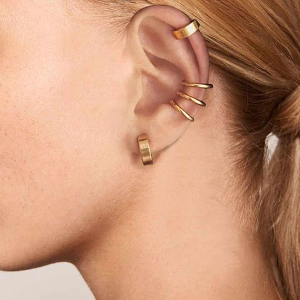 2pcs Clip On Body Nose Lip Ear Fake Retractable Earring Hoop