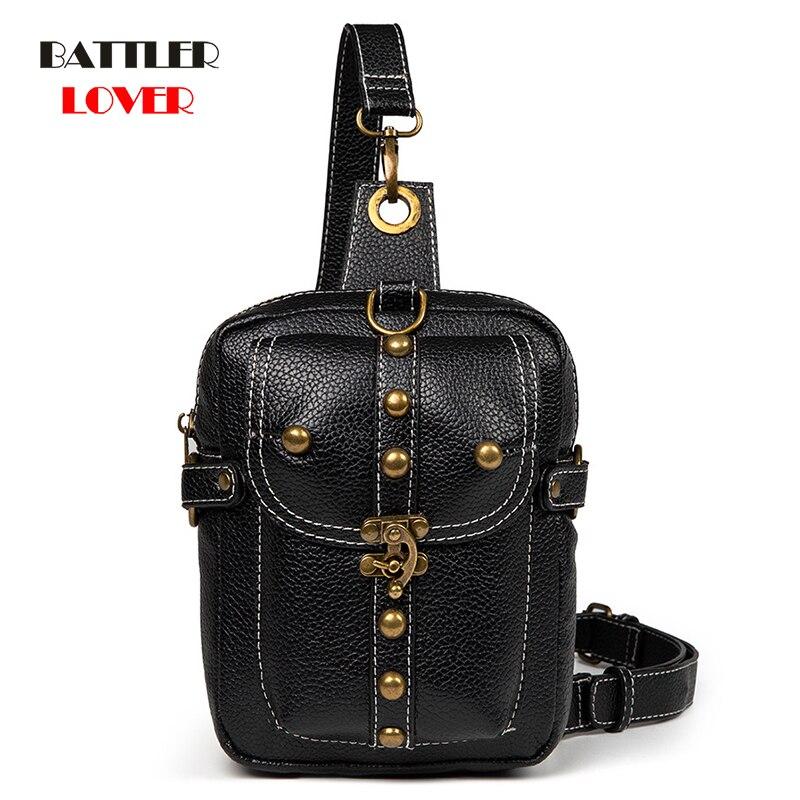 Punk Chest Bag For Women Hip Hop Motor Tactical Streetwear Style Waist Pack Men Outdoor Shoulder Crossbody Messenger Bag Unisex
