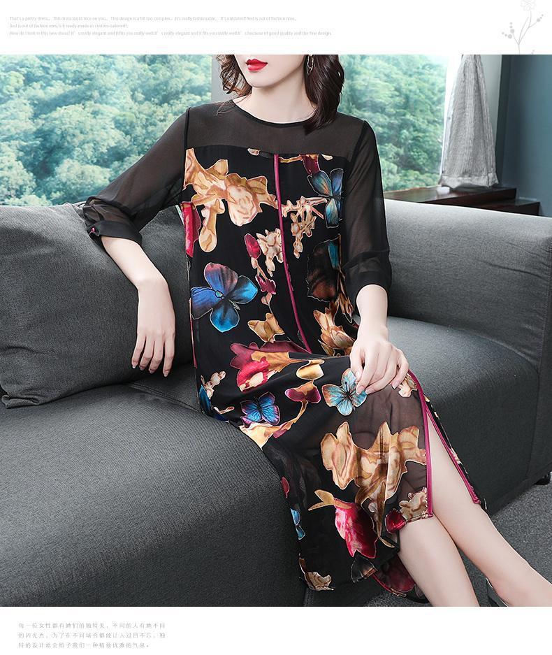 Retro Vintage Women Long Sleeve Flower Printed Dress Ethnic Loose Chinese Style