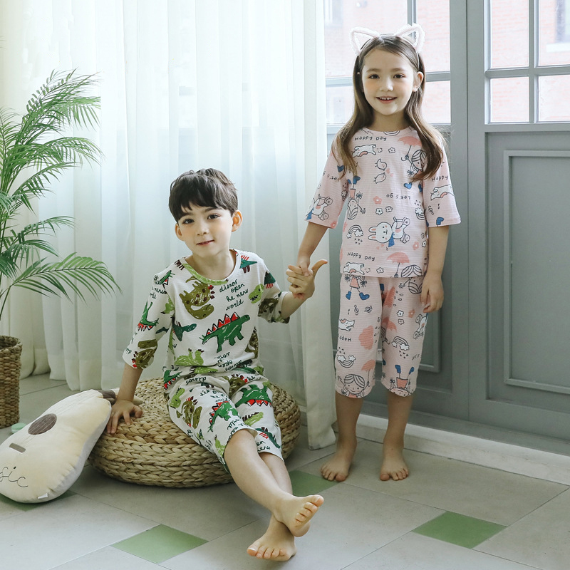 Children/'s pajamas thin pure cotton boys/' and girls/' air-conditioning clothing Children/'s Home clothing baby/'s Cotton