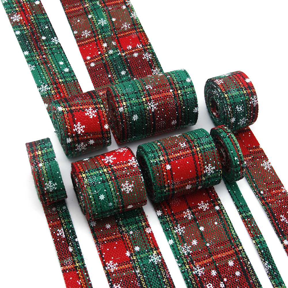 2m Christmas Red Trees Grosgrain Single Side Ribbon Woven Craft Bows